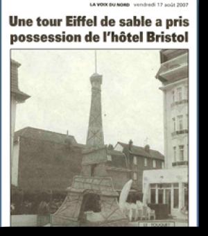 An Eiffel Tower made of sand...